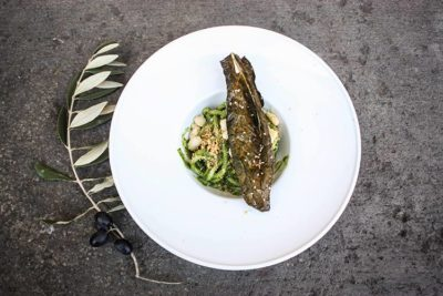 The final dish: pick with kale pesto, breadcrumbs, fagioli cannellini and kale chips