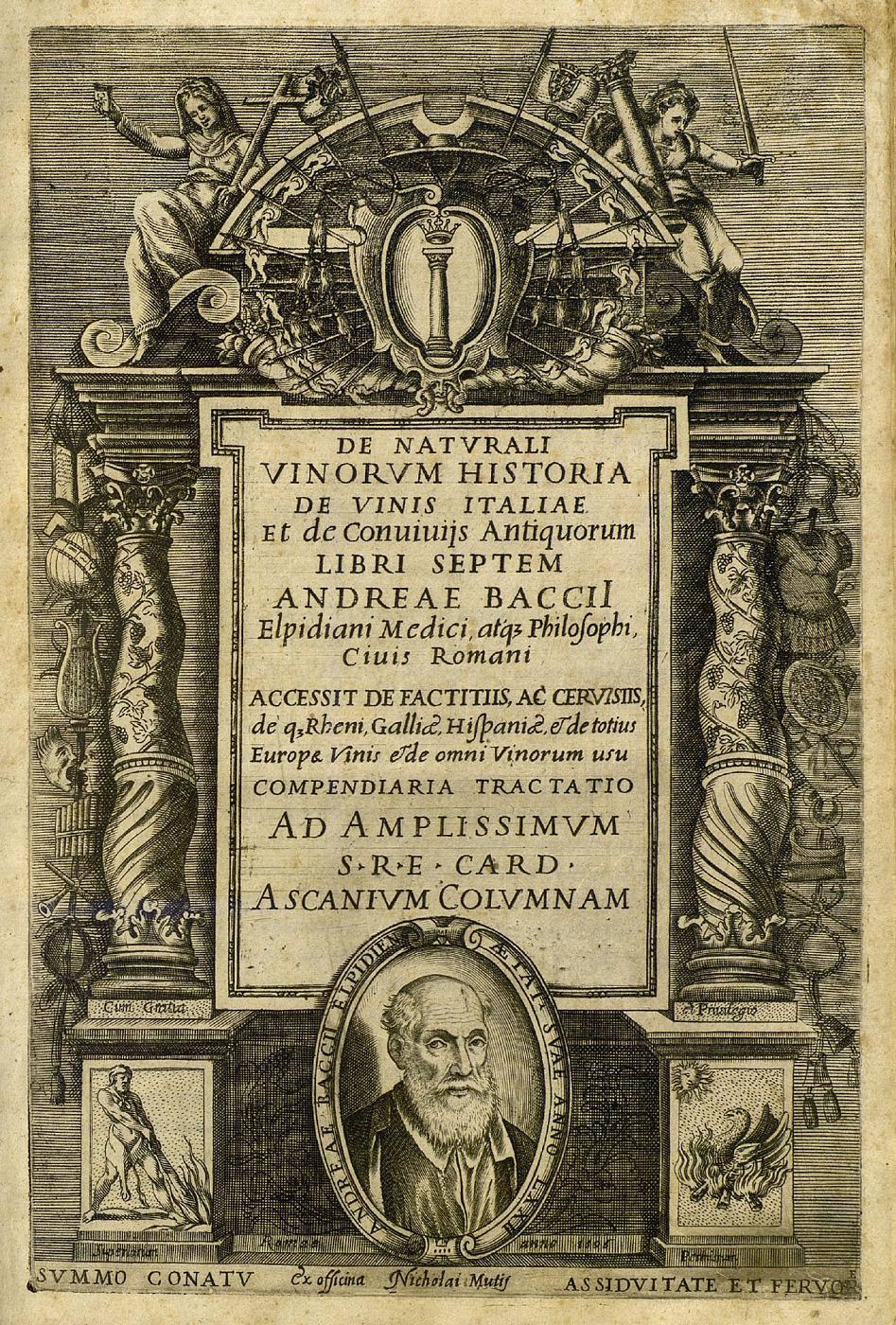 Andrea Bacci's De naturali vinorum historia et de vinis Italiae