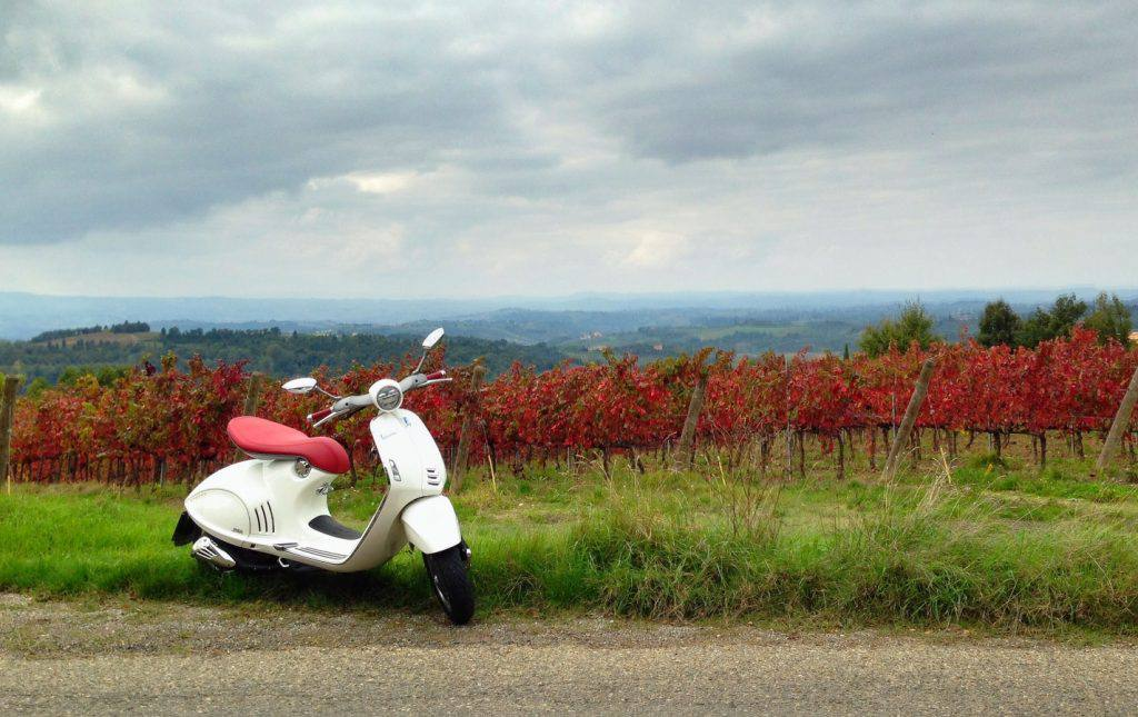 The Vespa (model 946) parked somewhere in Tuscany | Photo Alexandra Korey