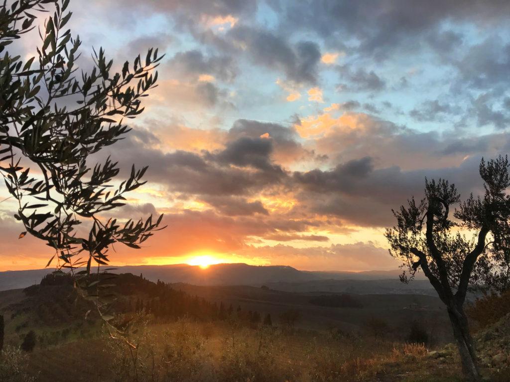 Un bellissimo tramonto nel cuore di Montalcino